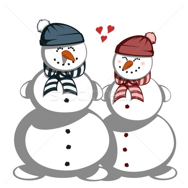 Pupazzo di neve Coppia amore ragazza bambini uomo Foto d'archivio © arleevector