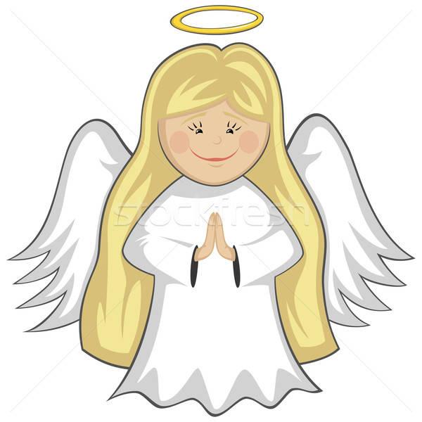 Stock fotó: Kicsi · aranyos · angyalok · szőke · nő · angyal · imádkozik