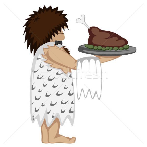 Paleo garçom bandeja comida desenho animado estilo Foto stock © arleevector