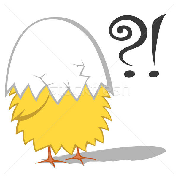 Grappig cute Geel kip eierschaal hoofd Stockfoto © arleevector