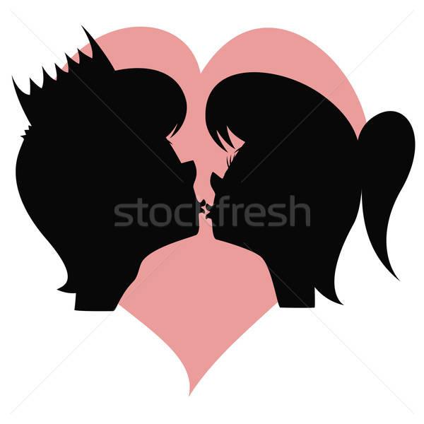 Kiss my prince!  Stock photo © arleevector