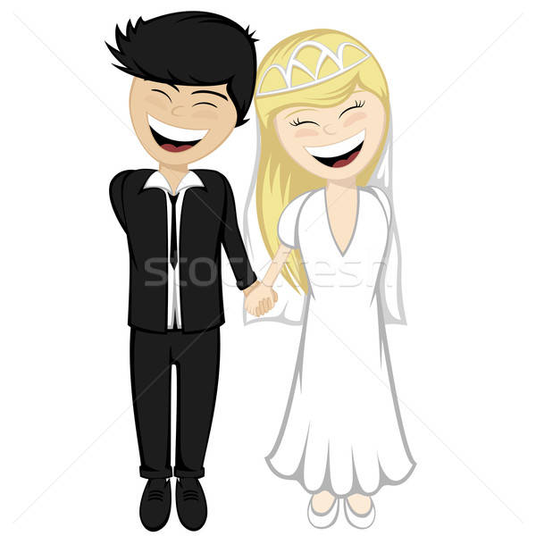 Happy newlyweds smiling Stock photo © arleevector