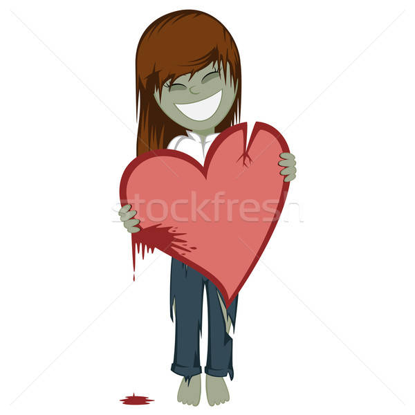 Zombie girl with a bloody heart  Stock photo © arleevector