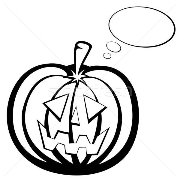 Zucca testa zucca di halloween faccia sorridere bianco nero Foto d'archivio © arleevector