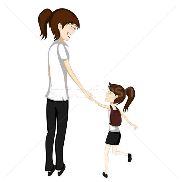 Mom and daughter go to school Stock photo © arleevector