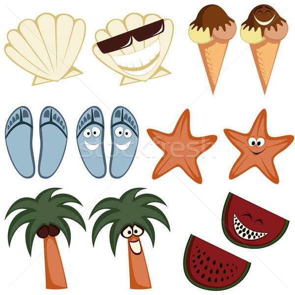 Classico divertente estate icone raccolta colorato Foto d'archivio © arleevector