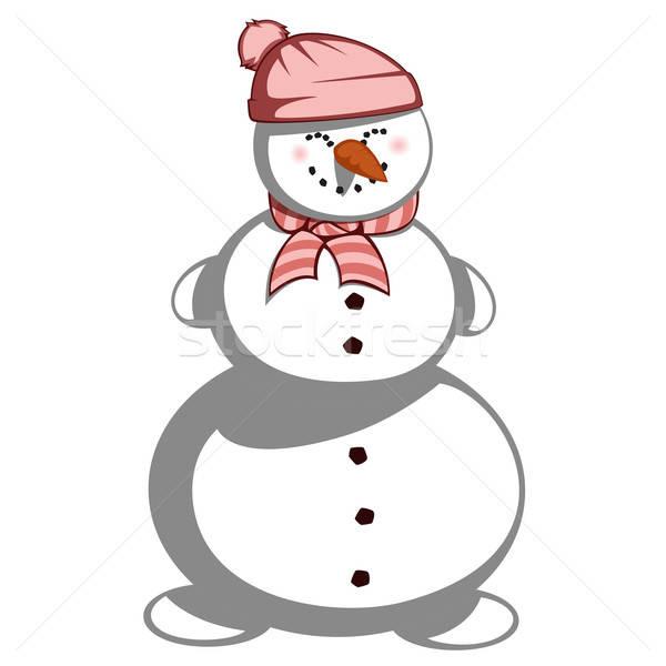 Pupazzo di neve cute signora sciarpa Hat ragazza Foto d'archivio © arleevector