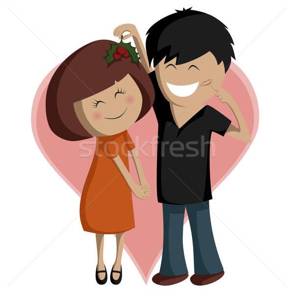 Mistel Paar süß Illustration Junge Mädchen Stock foto © arleevector