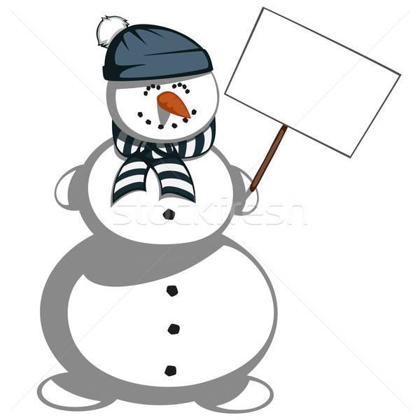 Pupazzo di neve cute sciarpa Hat sorridere Foto d'archivio © arleevector