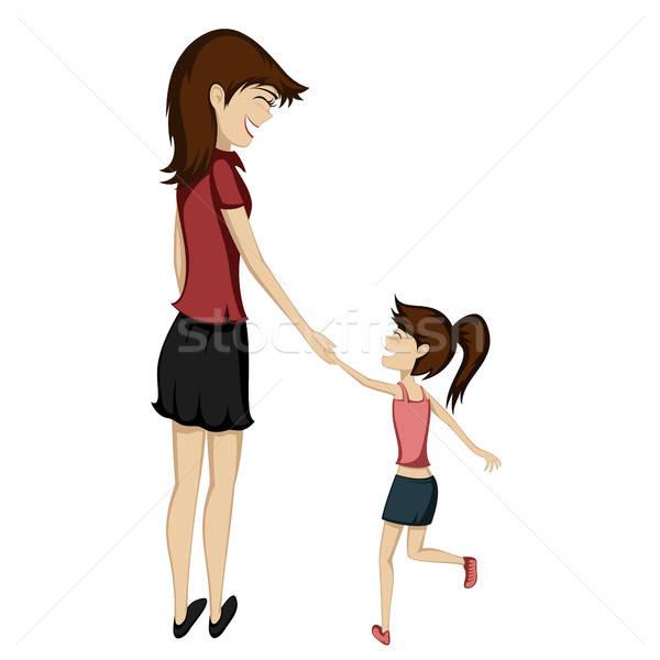 Mamma figlia bruna holding hands sorridere ragazza Foto d'archivio © arleevector