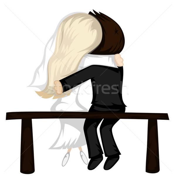 Benim valentine yeni evli çift oturmak bank Stok fotoğraf © arleevector