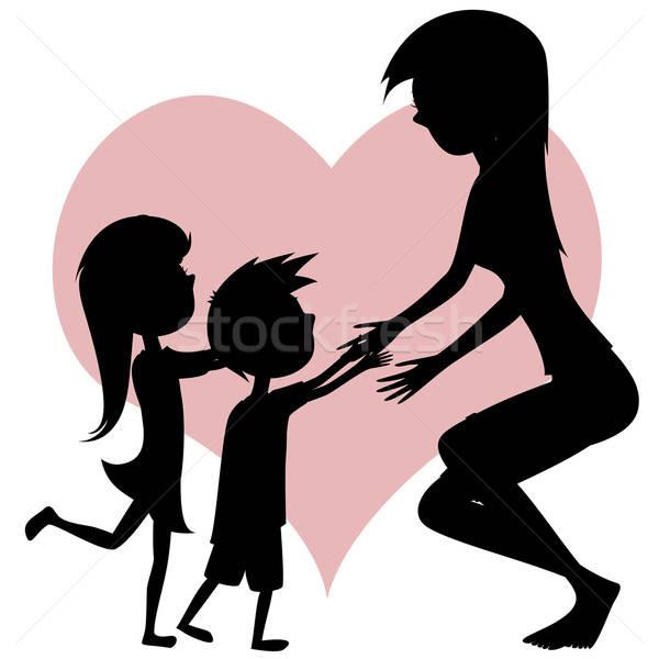 拥抱母亲矢量图
