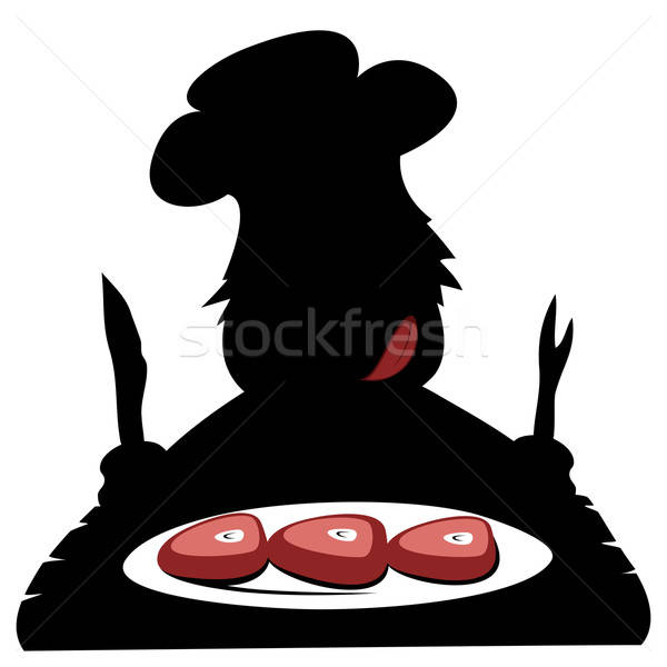 Paleo chef silhueta faminto comer delicioso Foto stock © arleevector