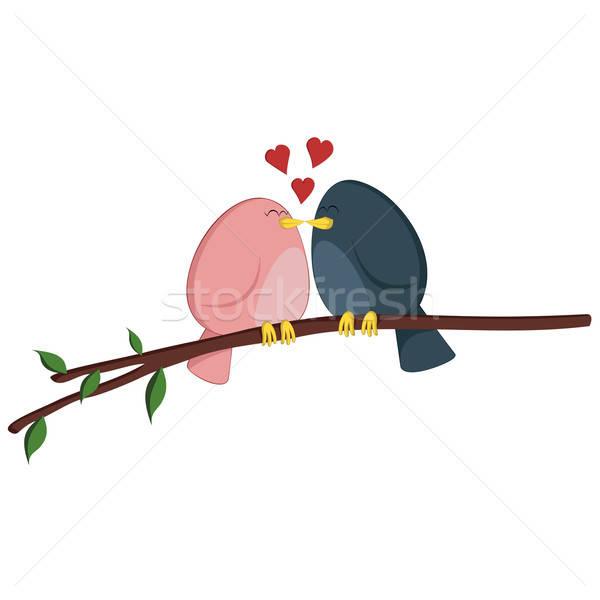 Bacio ramo rosa ragazza blu ragazzo Foto d'archivio © arleevector