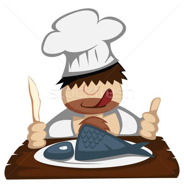 Paleo chef faminto fatias peixe almoço Foto stock © arleevector