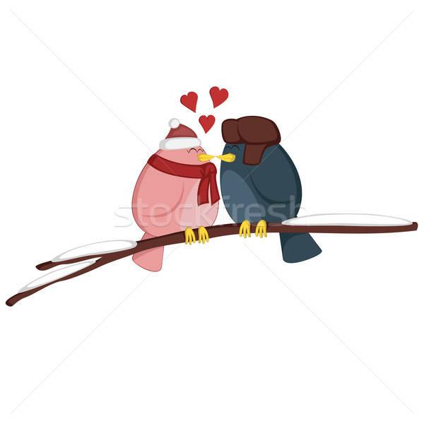 Küssen Zweig rosa Mädchen blau Junge Stock foto © arleevector