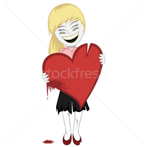 Zombie ragazza sanguinosa cuore piccolo grande Foto d'archivio © arleevector