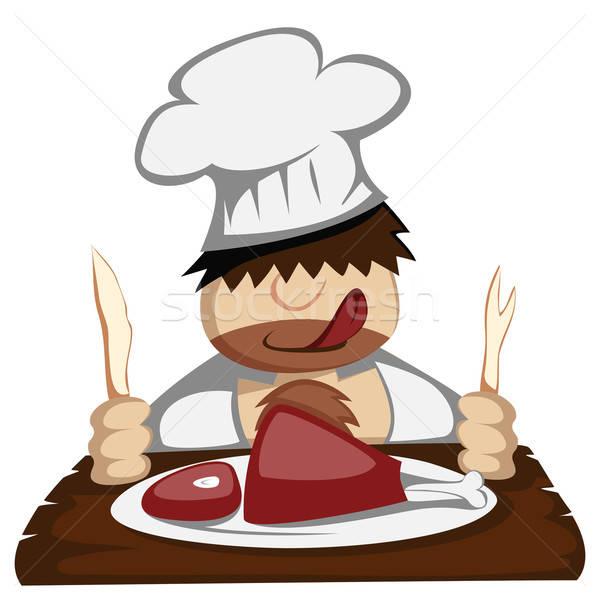 Paleo chef faminto fatias enorme carne Foto stock © arleevector