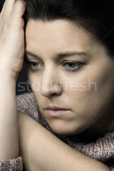 悲しい 女性 額 手のひら 肖像 ストックフォト © armin_burkhardt