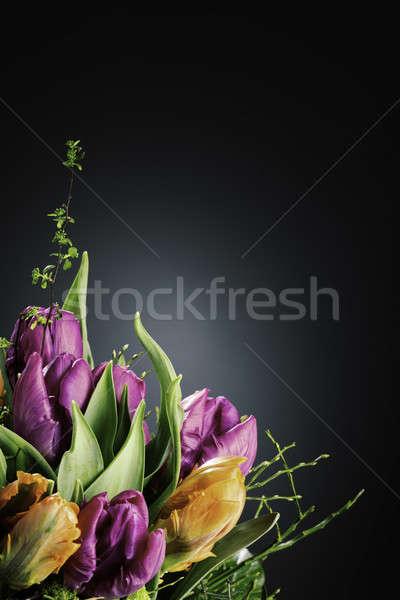 Buket lale vazo karanlık çiçekler yıldırım Stok fotoğraf © armin_burkhardt