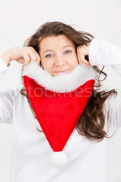 クリスマス 楽しい 女性 サンタクロース 帽子 ストックフォト © armin_burkhardt