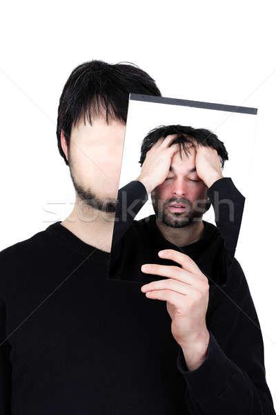 Iki yüzler bunalımlı sembolik görüntü adam Stok fotoğraf © armin_burkhardt