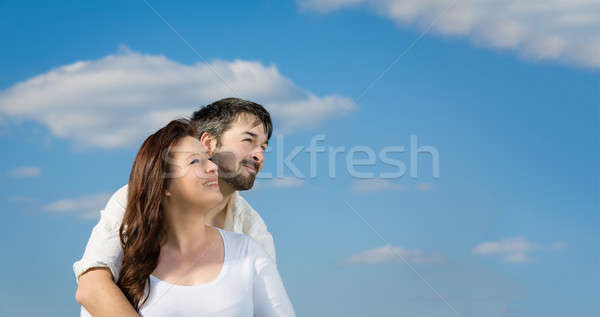 Felice futuro insieme Coppia cielo blu Foto d'archivio © armin_burkhardt