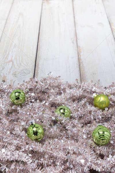Stock photo: background green christmas balls