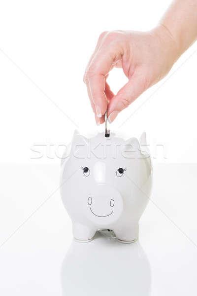 貯蓄 バランス 女性 手 コイン 貯金 ストックフォト © armin_burkhardt