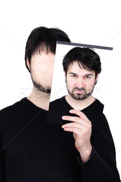 ストックフォト: 2 · 顔 · 怒っ · シンボリック · 画像 · 男