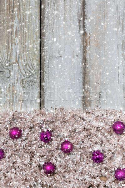 Noel parlak ahşap kalkan ağaç Stok fotoğraf © armin_burkhardt