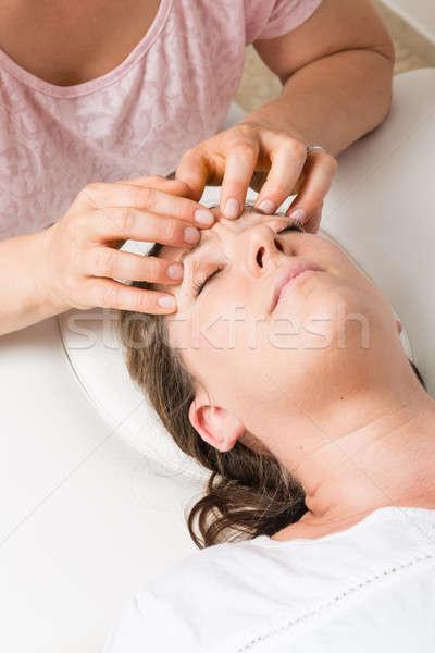 Baş ağrısı kadın tedavi kafa vücut sağlık Stok fotoğraf © armin_burkhardt