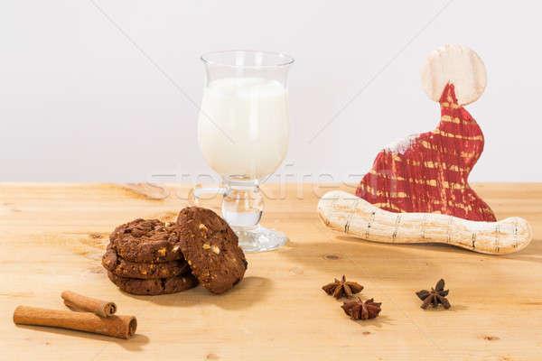 Preparato set vetro latte cookies Foto d'archivio © armin_burkhardt