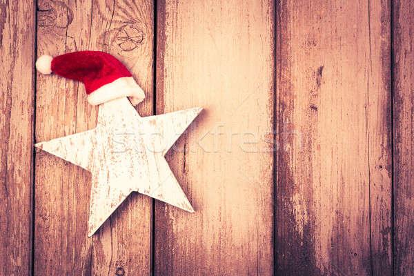 Divertente star Natale intemperie legno sfondo Foto d'archivio © armin_burkhardt