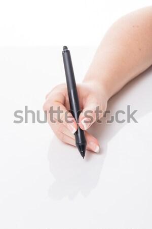 Iscritto femminile mano nero pen Foto d'archivio © armin_burkhardt
