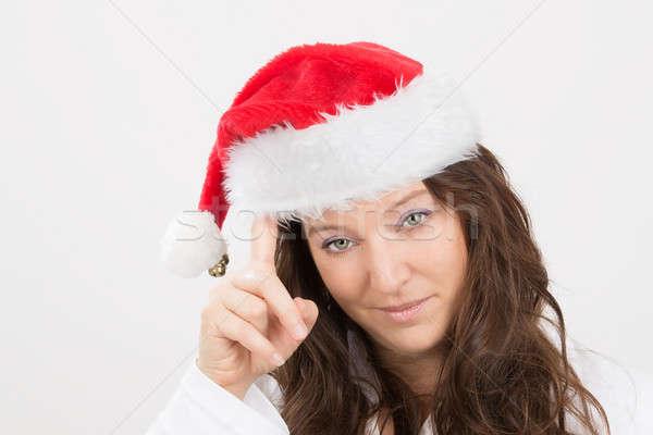 ストックフォト: クリスマス · ショッピング · 女性 · 考え · 面白い · ギフト