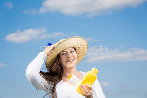 夏 女性 青空 小屋 ストックフォト © armin_burkhardt