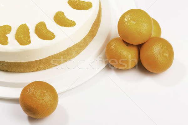 Cake - cream cheese with mandarin Stock photo © armin_burkhardt