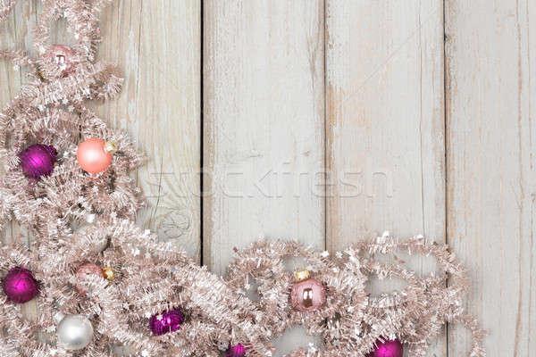 Noel çerçeve gümüş parlak ahşap ağaç Stok fotoğraf © armin_burkhardt