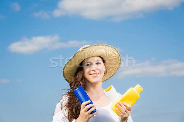 女性 青空 太陽 笑顔 ストックフォト © armin_burkhardt