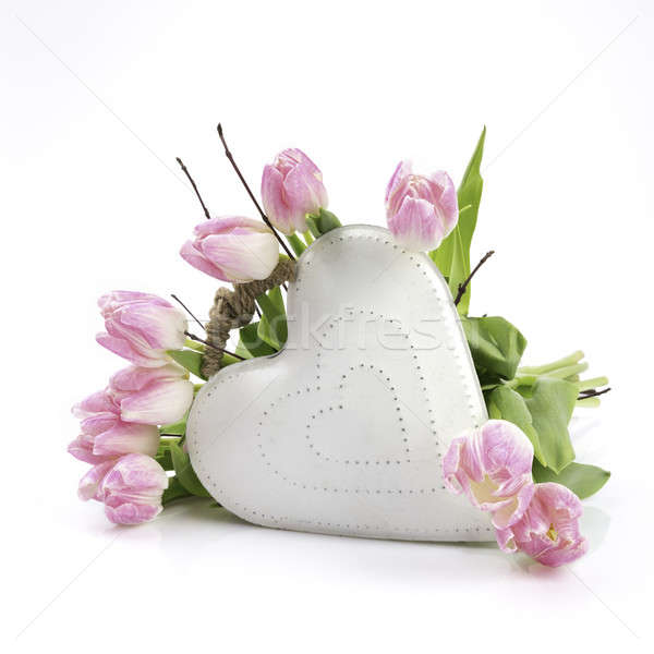 White heart with flowers Stock photo © armin_burkhardt