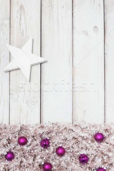 background purple christmas balls and star Stock photo © armin_burkhardt