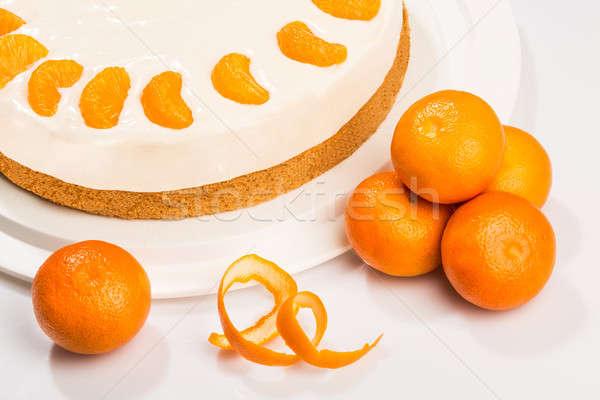 ケーキ マンダリン チーズ クリーム 光 フルーツ ストックフォト © armin_burkhardt