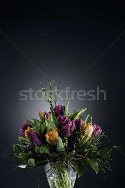 花束 チューリップ 花瓶 暗い 花 雷 ストックフォト © armin_burkhardt