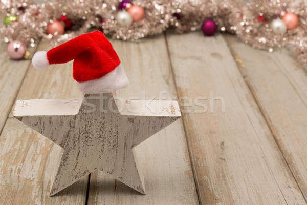 面白い 星 クリスマス 風化した 木材 幸せ ストックフォト © armin_burkhardt