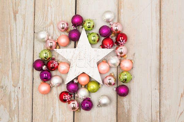 white star between christmas balls Stock photo © armin_burkhardt