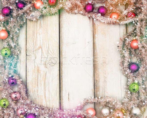 カラフル クリスマス フレーム ツリー 花輪 ストックフォト © armin_burkhardt