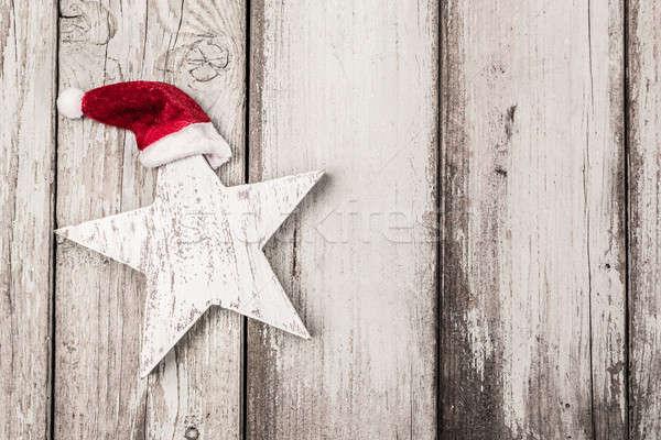 面白い 星 クリスマス 風化した 木材 背景 ストックフォト © armin_burkhardt