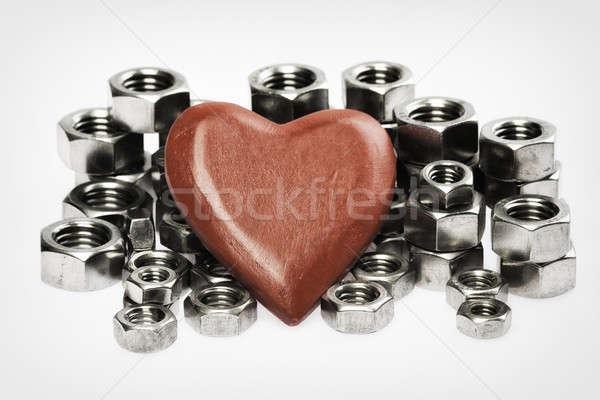 Rosso cuore dadi legno wedding madre Foto d'archivio © armin_burkhardt