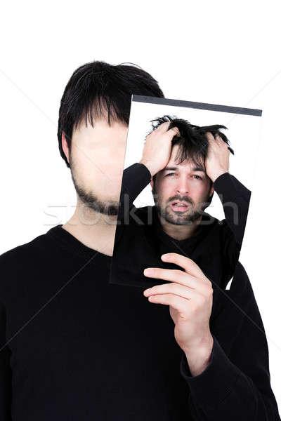 Twee gezichten symbolisch afbeelding man Stockfoto © armin_burkhardt